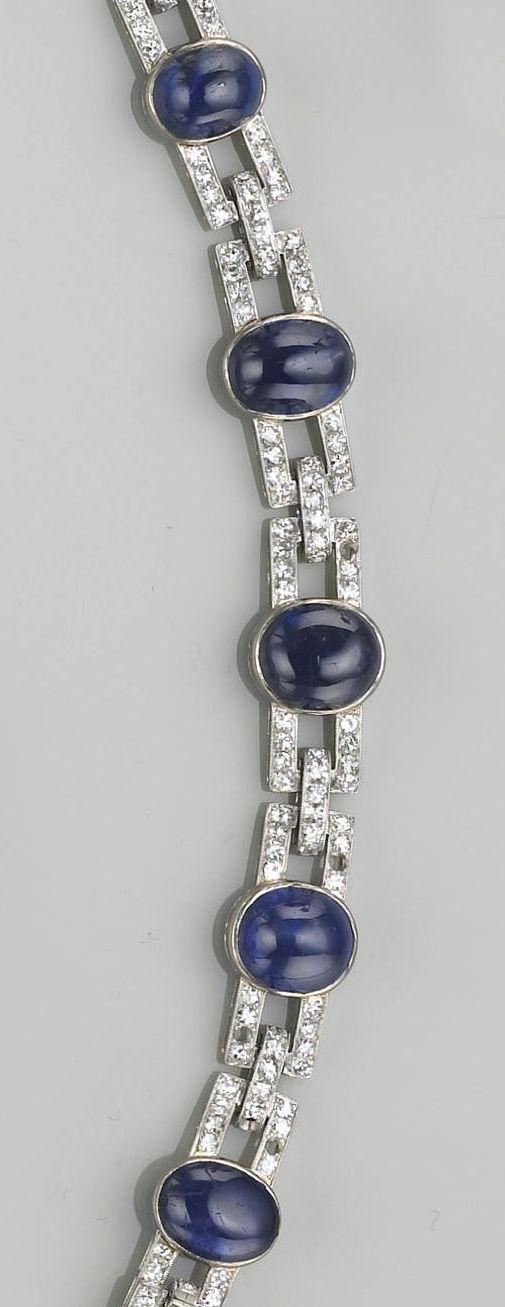 An art deco sapphire, diamond and eighteen karat white gold bracelet, J. Chaumet, Paris, circa 1925