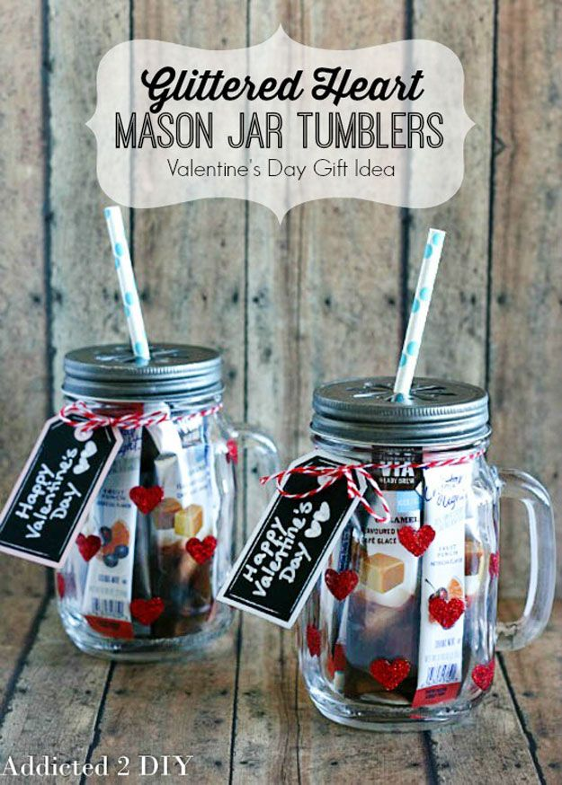 Mason Jar Valentine Gifts and Crafts | DIY Ideas for Valentines Day for Cute Gift Giving and Decor |   Glittered Heart Mason Jar Tumblers    |  http://diyjoy.com/mason-jar-valentine-crafts
