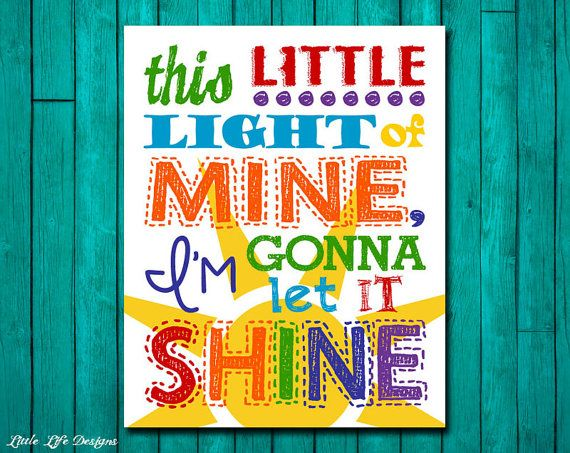 This little light of mine I'm gonna let it shine. Childrens Wall Art. Kids Room Decor. by LittleLifeDesigns