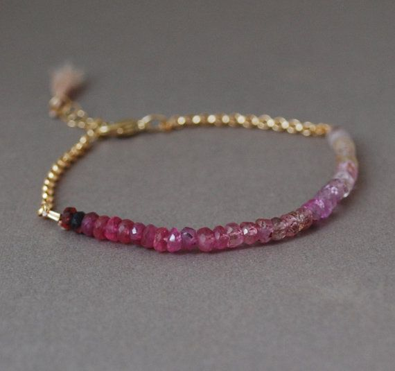 Ombre Pink Sapphire Gemstone Beaded Gold Bracelet also available in Silver