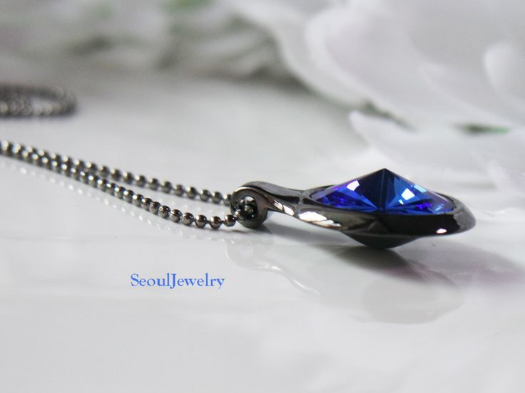 Black Necklace with Sapphire by SeoulJewelry on Etsy
