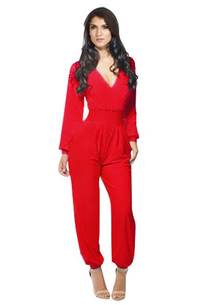 Cheap Fashion Jumpsuits Red Solid Regular Jumpsuits