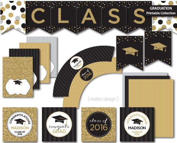 Graduation Cupcake Toppers Printable Black Gold by MarleyDesign