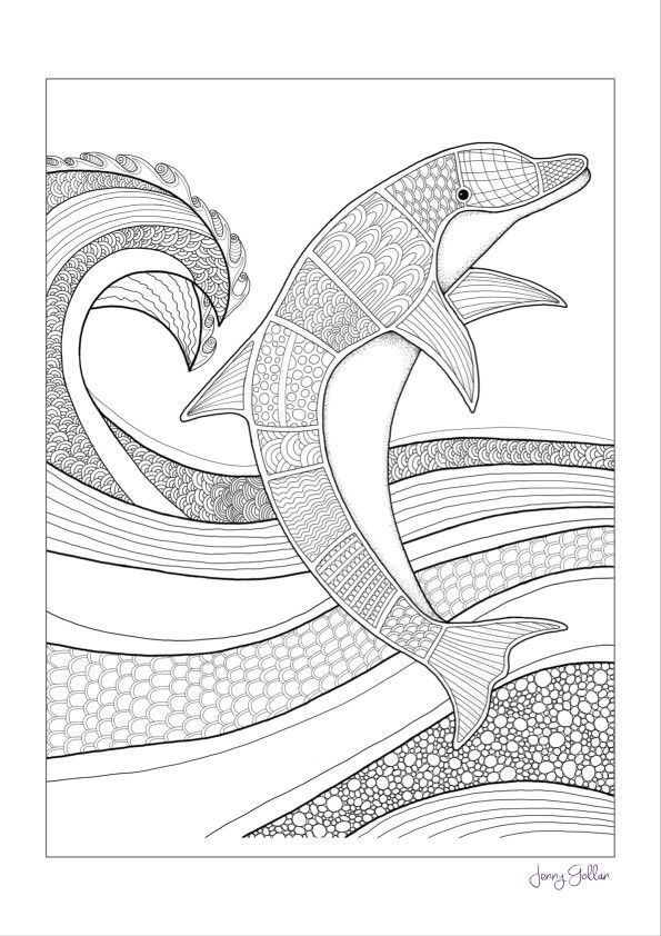 free dolphin colouring page via the artist jenny gollan on facebook