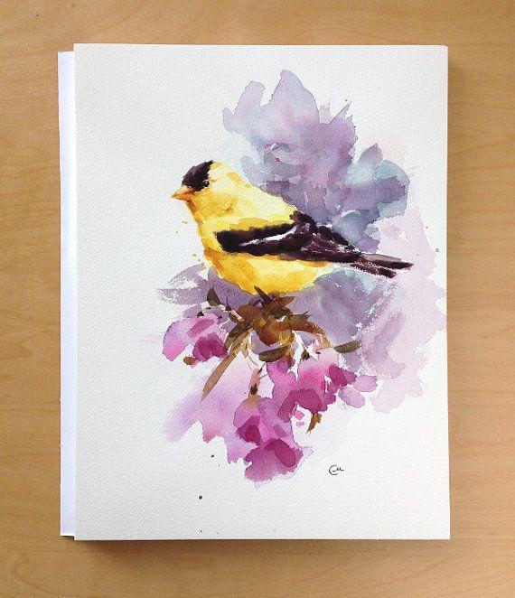 Amerikaanse distelvink originele aquarel vogel door CMwatercolors