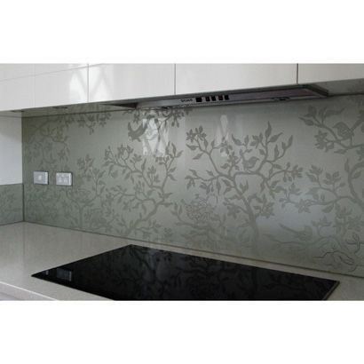 sandblasted glass splashback
