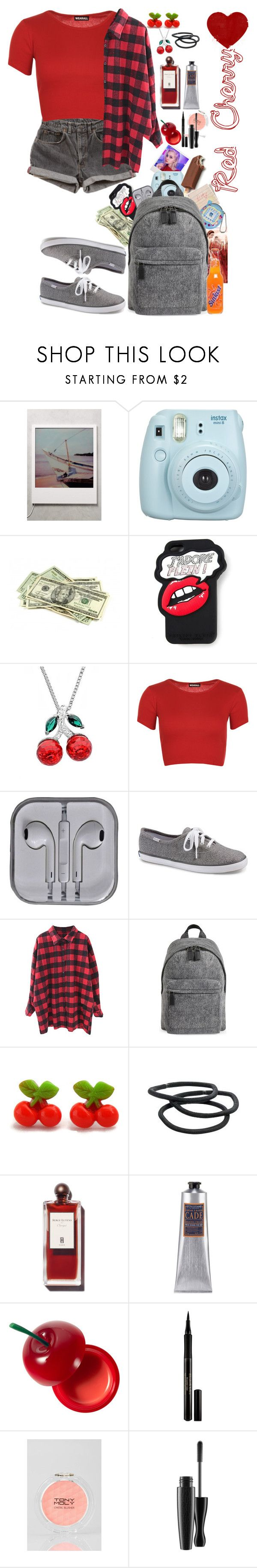 """Red Cherry"" by neptunelittlegirl ❤ liked on Polyvore featuring Fujifilm, Hahn, Philipp Plein, Amanda Rose Collection, Levi's, WearAll, Keds, Marc Jacobs, Retrò and Goody"