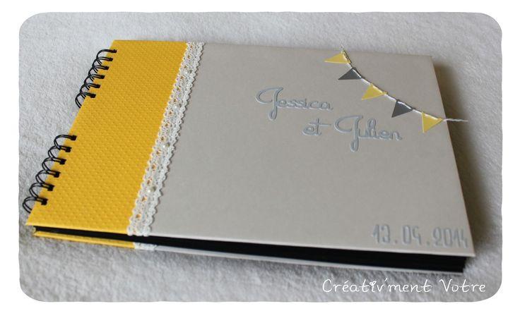 Livre d'or Mariage gris jaune et dentelle