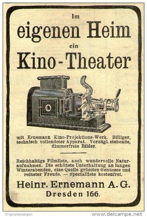 Original-Werbung/Anzeige 1909 - ERNEMANN HEIM - KINO - THEATER / DRESDEN - ca. 65 x 100 mm