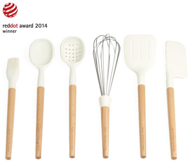 Universal Silicone and Beech Wood Utensils. Egg brush, whish, scraper, spoon, slotted spoon and spatula. Universal Expert by Sebastian Conran.