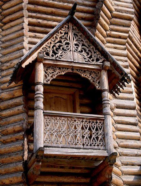 Russian wooden balcony