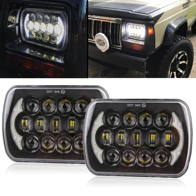 105w 5x7 7x6 Inch Rectangular Sealed Beam Led Headlight With Drl For Jeep Wrangler Yj Cherokee Xj H6014 H6052 H60 Jeep Wrangler Yj Jeep Wrangler Led Headlights