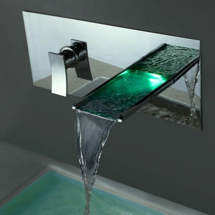 Wasserhahn Mit Grüner LED Lampe, Wasserhahn Mit LED Beleuchtung Und  Wasserhahneffekt | Badezimmer Ideen U2013 Fliesen, Leuchten, Dekoration |  Pinterest