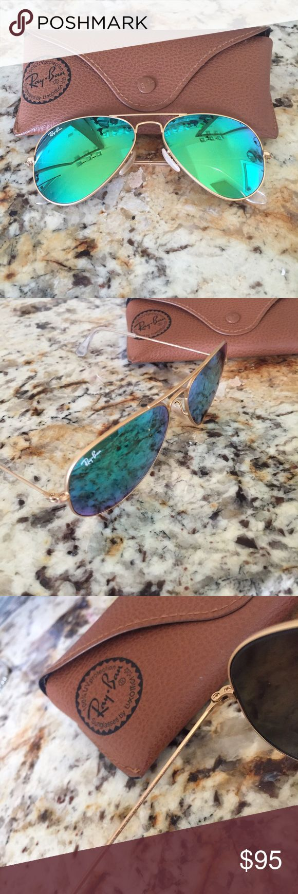 Ray Ban Aviator Sunglasses - Green Mirror Lens  Ray Ban Sunglasses - Green Mirrored Aviator Lens with Gold Frame. Case included. Only worn once! Ray-Ban Accessories Sunglasses