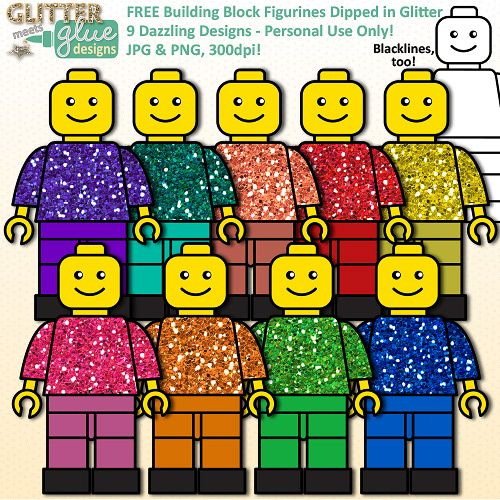 FREE Building Block Figurines Dipped in Glitter Clipart - PERSONAL USE ONLY #education #buildingblock #free #clipart
