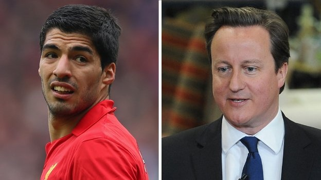 "Prime Minister David Cameron says Liverpool striker Luis Suarez set ""the most appalling example"" by biting Chelsea defender Branislav Ivanovic.  Suarez has since been banned for 10 games by a Football Association panel.  ""As a dad and as a human being do I think we should have tough penalties when football players behave like this? Yes,"" Mr Cameron told BBC Radio 5 live."