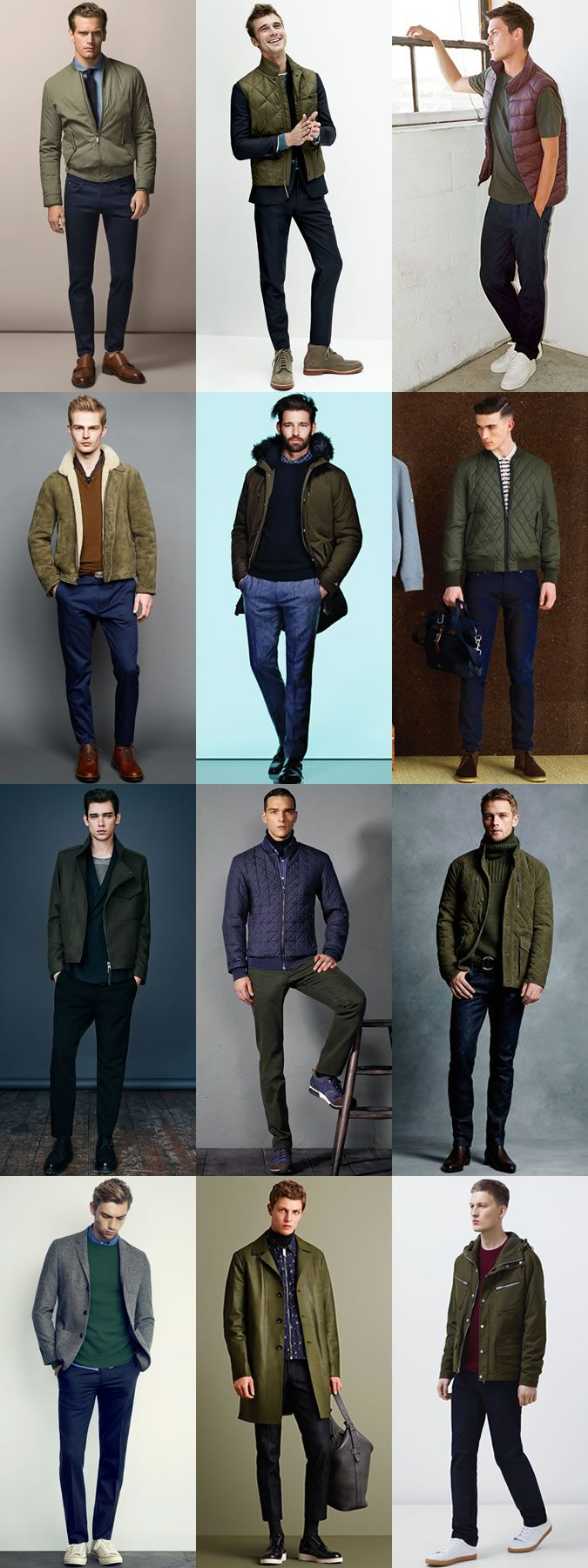 Men's Colour Combination For Autumn/Winter 2015: Blue and Green Colour Combination Outfit Examples Lookbook