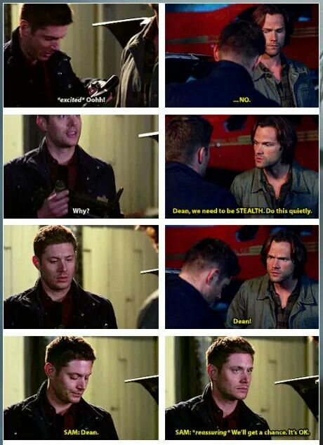 """12x05 """"The One You've Been Waiting For"""" - This was totally more Jensen than Dean. Jensen has been wanting to use the grenade launcher since the very first episode of the series lol.<< HAHA"""