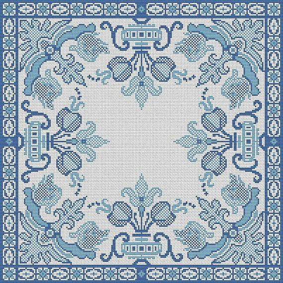 Antique Pillow Square Blue Motif Counted Cross Stitch Pattern PDF