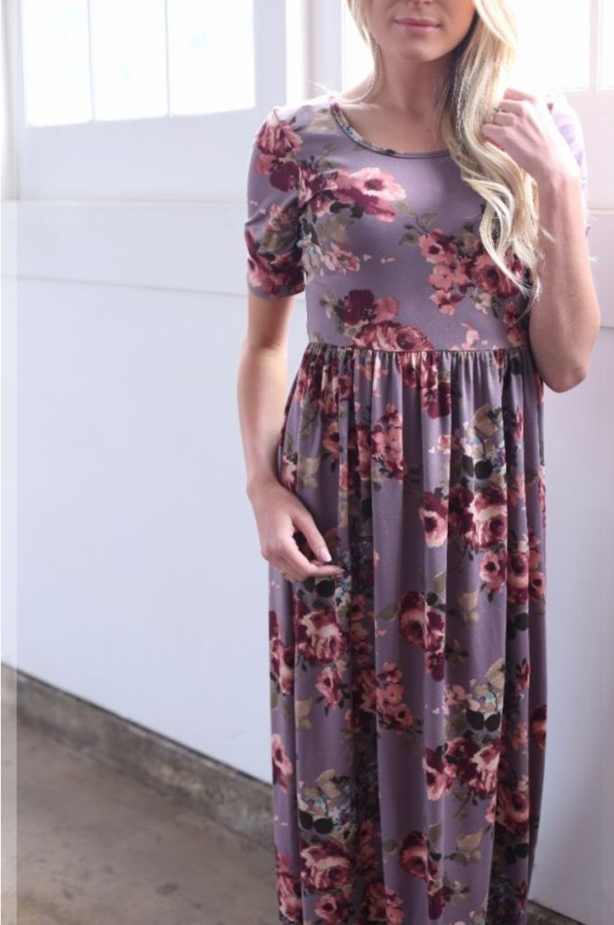 The Everyday Maxi in Plum Floral from The Flourish Market. Ethically made in the USA! | Fairly Southern