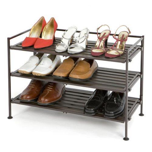 "$38 Seville Classics Resin-Wood Composite 3 Tier Utility Shoe Rack, 27"" wide"