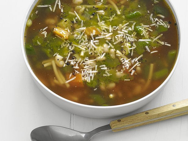 Pistou Soup. I must try this with the yummy vegan pesto sold at our Co-op! (omit cheese)