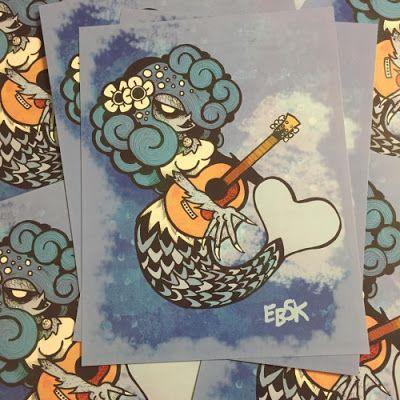 "Mermaid prints are now in my @storenvy! Limited to 25 (8.5""X11"")   edbot5000.storenvy.com  #mermaid #edbot5000 #eb5k #drawing #illustration #sketch #drawmore #prints #limitededition #merch #sale #siren #guitar #blue #art #legend #myth #mythology #ocean #sea #folklore"