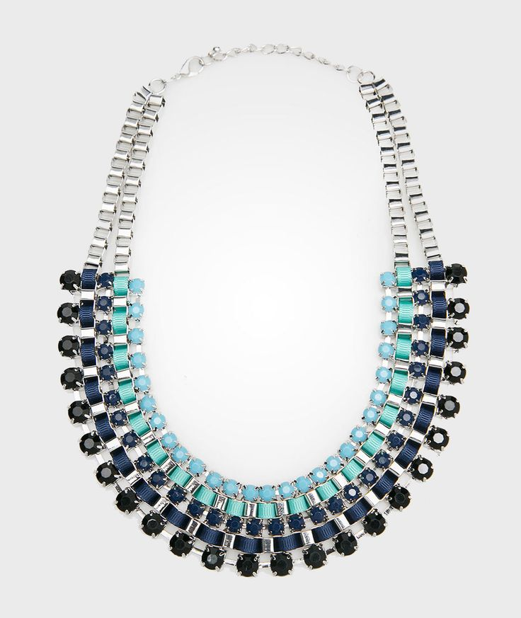 Blue Ombre Necklace design by Blaze. This fancy necklace features with ombre color, gemstone details and lobster clasp closure. From navy to turquoise color this ombre necklace is really cute. http://zocko.it/LERuK