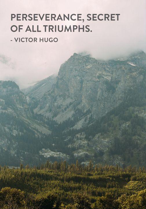 """Perseverance, secret of all triumphs."" — Victor Hugo"