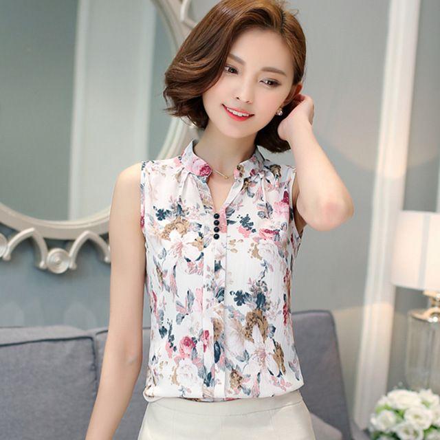 Blusas Femininas 2016 Nueva Moda de Verano Blusa de La Gasa de Las Mujeres Sin Mangas Impreso Blusa con Estampado floral Blusas Camisas Camisa de la Oficina