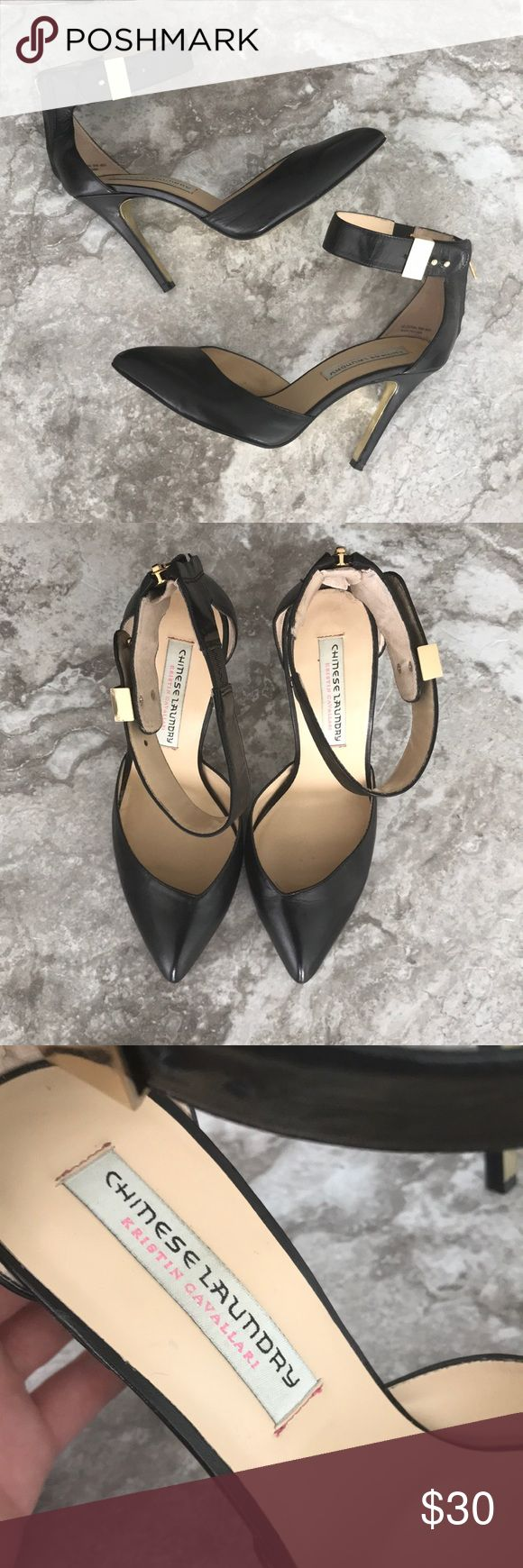 Kristin Cavallari for Chinese Laundry pumps Very sexy ankle strap pumps from the Kristin Cavallari collection. Black leather with gold hardware. Good used condition Chinese Laundry Shoes Heels