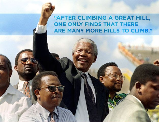 """<b>The former South African president <a href=""""http://www.buzzfeed.com/ellievhall/nelson-mandela-is-dead-at-95"""">died Thursday</a> at age 95.</b> Remember him through his uplifting and revolutionary words."""