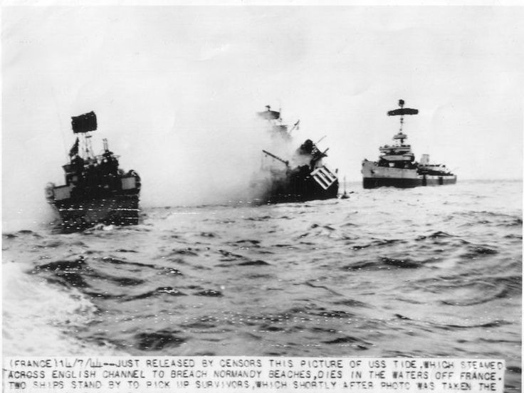 Wednesday, June 7, 9:40 - The soldiers hear an explosion off Utah Beach. The minesweeper USS-Tide hit mines while sweeping along the coast. Five men died, the ship is sinking and listing dangerously. The men on board managed to be transshipped to other vessels before the USS-Tide sinks off Barfleur. © Regional Council of Basse-Normandie / National Archives USA