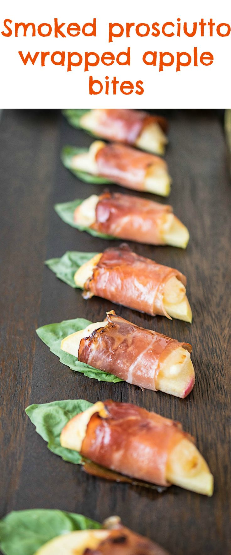 Smoked prosciutto wrapped apple bites are an easy and delicious warm appetizer that are perfect to serve with wine for entertaining. Sweet apples wrapped in Parmesan cheese, smoked prosciutto and basil served warm. @cavitwines #CavitWines #LivetheCavitlife #ad