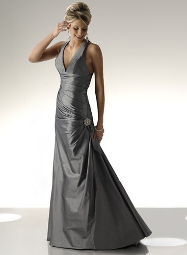 Formal, Prom, Pageant, Ball Gown-Long Charcoal Grey Dress