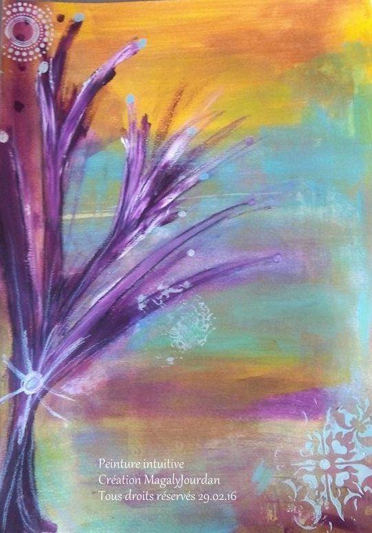 """Peinture intuitive que j'ai nommé """"L'arbre de vie"""", voici le message délivré par cette peinture :  """"Je suis l'arbre de vie. Je puise mes ressources dans chacune de mes racines à l'instar de vous humain. Prenez soin de chacune de vos racines, soignez-les lorsqu'elles sont blessées. Mes racines me permettent d'être et d'avancer sur mon chemin dans la joie. Un arbre ce n'est pa seulement des racines c'est aussi des branches, chaque branche porte un fruit qui a la saveur que je souhaite lui…"""