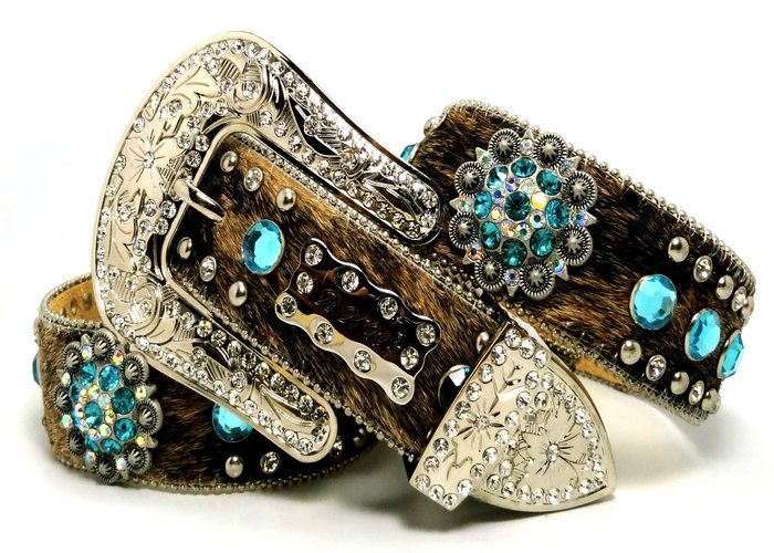 $75 -- BHW CoWgiRl WeStErN BrOwN BriNdLe TuRqUoiSe-AB BeRrY CoNcHo HaiR BeLt