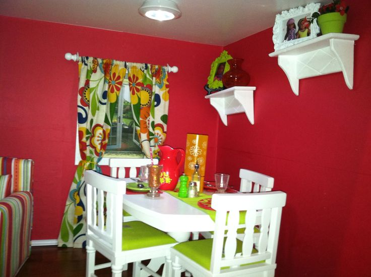 Dining Room Table Set From AG, Draperies Made By Mom, Wall Shelves From AC