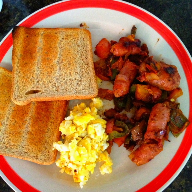 Scrambled eggs, Toast and Sausages on Pinterest