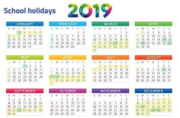 Malaysia Public School Holidays Calendar 2019 Free Printable Calendar 2019 School Holiday Calendar School Holidays Holiday Calendar
