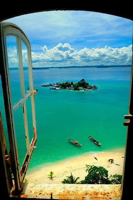 Beautiful view from the lighthouse. Lengkuas island, Indonesia