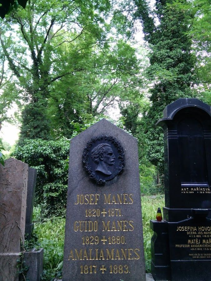 The grave of the Czech painter Josef Manes, in the Olšanské Hřbitovy in Prague.