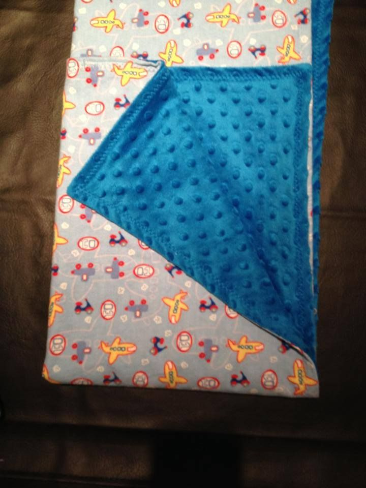 airplanes with blue dimple small blanket for travel or in the stroller