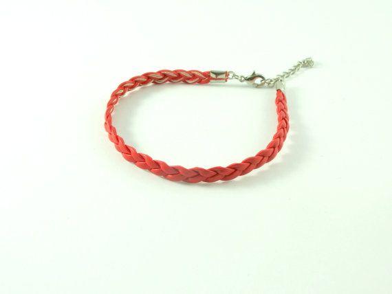 Rote doppelt geflochtene Schnur Armband mit Silber von HirasuGaleri