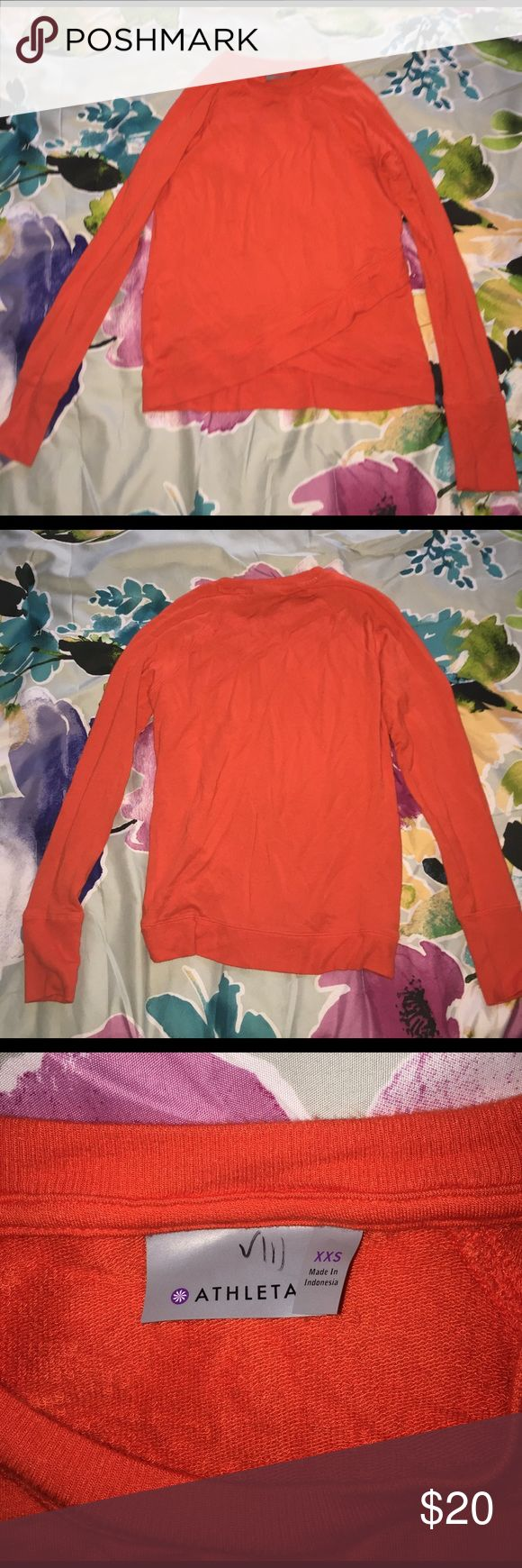 Athleta Orange pullover Worn once, is in great condition Athleta Sweaters Crew & Scoop Necks