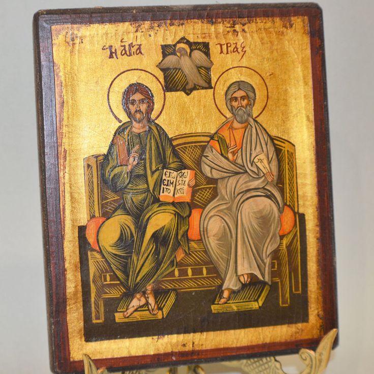 Orthodox Icon Greek Byzantine Handpainted The Holy Trinity Old Wood