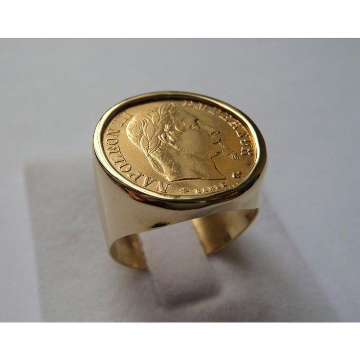 Chevalière or ronde avec 10 Francs Napoléon