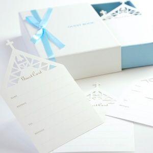 かわいいチャペルのデザイン♪ウェディングのおしゃれなゲストカード参考例♪