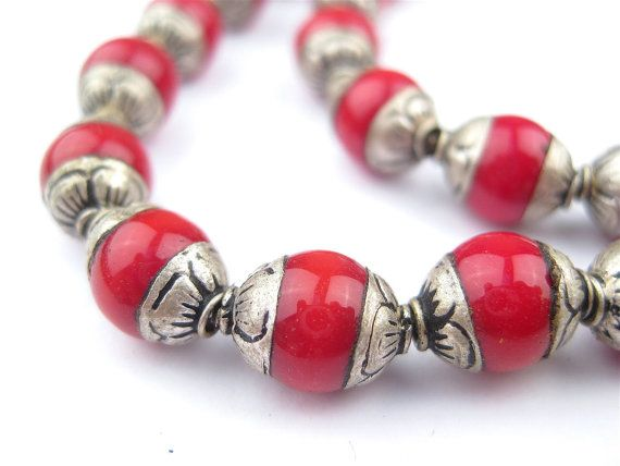 50 Coral Nepali Silver Capped Beads - Bead with Silver Cap - Capped Coral Beads - Ethnic Coral Beads - Capped Stone Beads (NPL-OVL-RED-106)