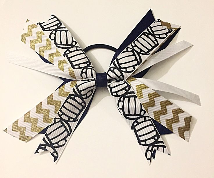 Custom Navy and Gold Volleyball Hair Bows, Gold and Navy Volleyball Hair Ties, Volleyball Ribbons by SunshineandBling on Etsy